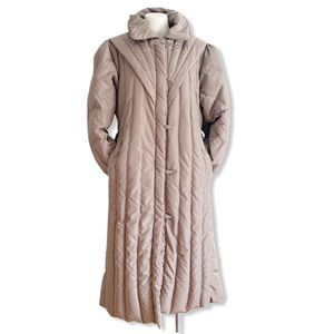 Vintage Puffer Coat Long Structured Taupe Medium